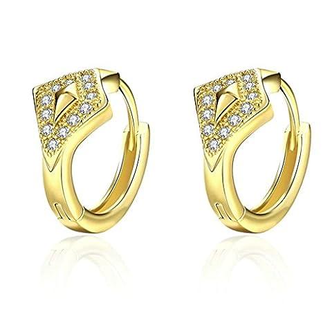 Adisaer Hoop Earrings for Women Gold Plated White Cubic Zirconia Round Earrings Hoop for Bridal Gold
