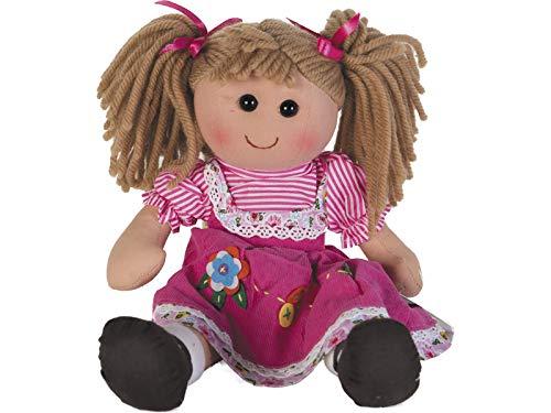 TWINAH Muñeca Trapo Vestido Rosa Pana 35 cm.
