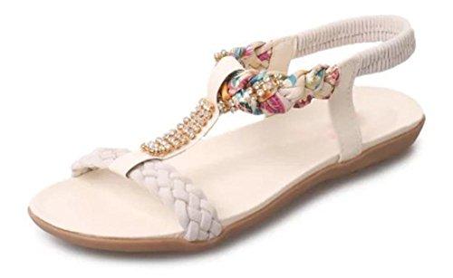 Été sandales à bout ouvert surface molle avec des sandales plates bas pour aider sandales femmes College White