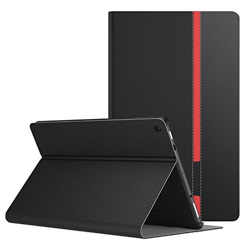 MoKo Hülle Fire HD 10 Tablet (7th Gen.- 2017 Modell) - Stoßfest Ledertasche Schutzhülle mit Standfunktion und PC Bumper für All-New Amazon Fire HD 10,1 Zoll Tablette, Schwarz