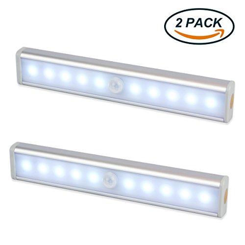 LED Schrankbeleuchtung, EMIUP 2er Set 10 LED Batteriebetrieben Kabellose Magnetisch Bewegungsmelder Nachtlicht für Kabinett Kleiderschrank Waschraum Küche (Led-leuchten Schrank)