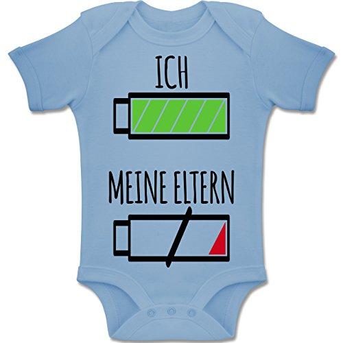 Shirtracer Strampler Motive - Ich und Meine Eltern Batterie - 12-18 Monate - Babyblau - BZ10 - Baby Body Kurzarm Jungen Mädchen