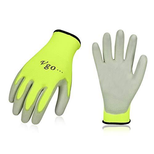 Vgo 30 paia guanti da lavoro e giardinaggio in PU, guanti da giardino, edile, multifunzione (9/L, Verde fluorescence, PU2103)