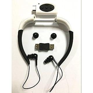 Hipipooo-8GB Mémoire étanche Sports Lecteur de musique MP3 Écouteur audio stéréo Collier sous-marin Natation Plongée avec microphone FM Casque(Blanc)