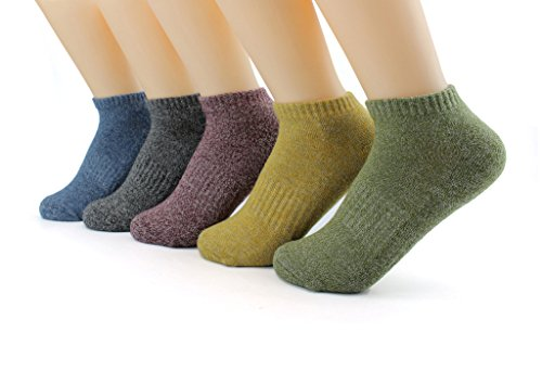 Waymoda 5 Pairs Low Cut Ankle Crew Socks, Outdoor Running Hiking Dancing Trainer Sports Sneaker Sox, 5 Color/Set, Quick Drying Polyester, Unisex Young Men/Women/Boys/Girls UK 1-2/EUR 32-34