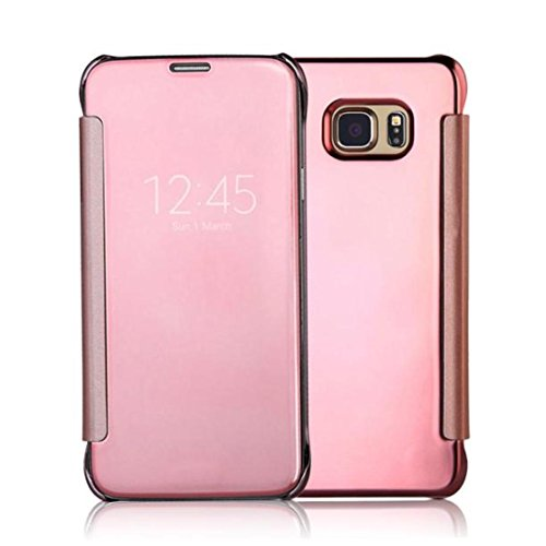 WensLTD Samsung S7/S7 Edge Case, Mirror Smart Clear View Window Flip Case Cover for Samsung Galaxy S7/S7 Edge (S7 Edge, Rose Gold)