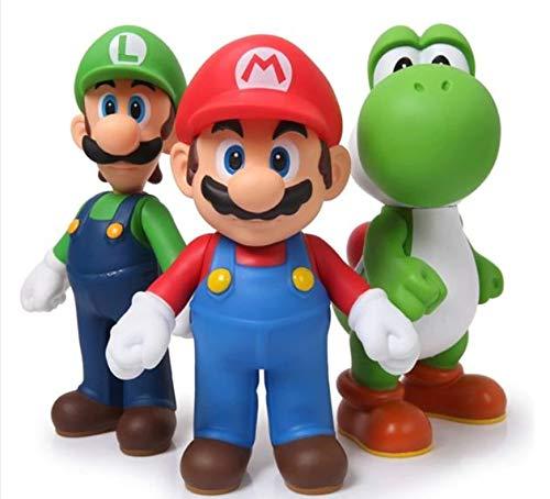 Figura accion Lote 3 Unidades Super Mario Bros Mario Yoshi Luigi PVC Figura de acción colección Juguete 12 cm