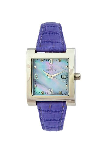 Oskar Emil Ladies St Petersburg Lilac Quartz Watch with Diamonds and Mother of Pearl Dial Analogue Display and Purple Leather Strap St Petersburg Lilac