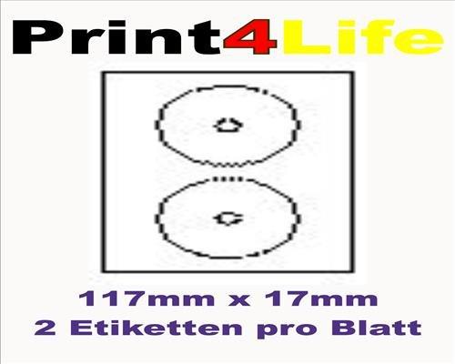 200 Stk. Selbstklebende WEIßE Etiketten permanent klebend Adressetiketten Etikettenformat CD DVD Labels Rund Ø 117.0x17.0mm, 100 Blatt DIN A4, 70g/qm, geeignet für Inkjetdrucker-, Laserdrucker und Kopierer.