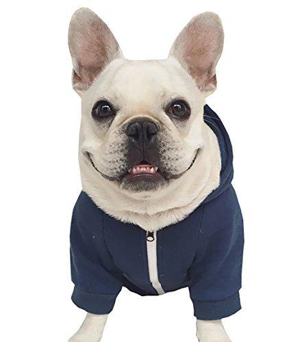 Moolecole Zip-up Kapuzenpullover Haustier Kostüm Hund Kleider Outfit Komisch Haustier Bekleidung Für Französisch Bulldogge Und Mops Dunkelblau ()