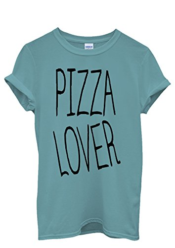 Pizza Lover Italy Food Men Women Damen Herren Unisex Top T Shirt Licht Blau