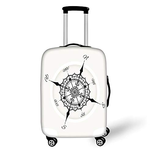 Travel Luggage Cover Suitcase Protector,Compass,Hand Drawn Compass with Floral Arrangement Design Compass Boating Theme Print,Black White,for Travel,M