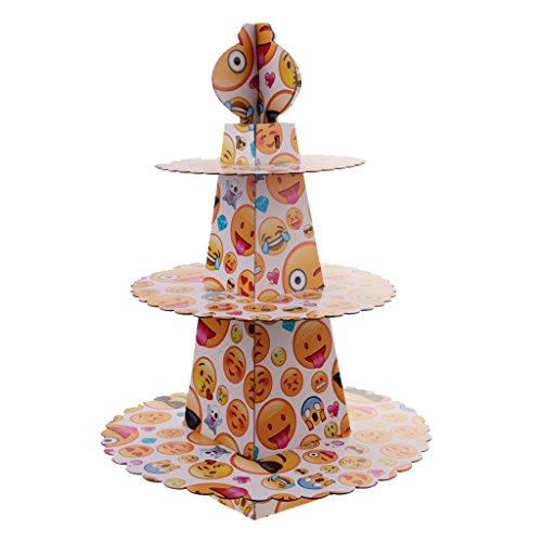 Preisvergleich Produktbild MagiDeal Emoticons Etagere Papier Servierständer Dessert Ständer, Cupcake Display, 3-stöckig Gebäck Muffin Obst Servierständer für Party, Geburtstag, Hochzeit, Weihnachten