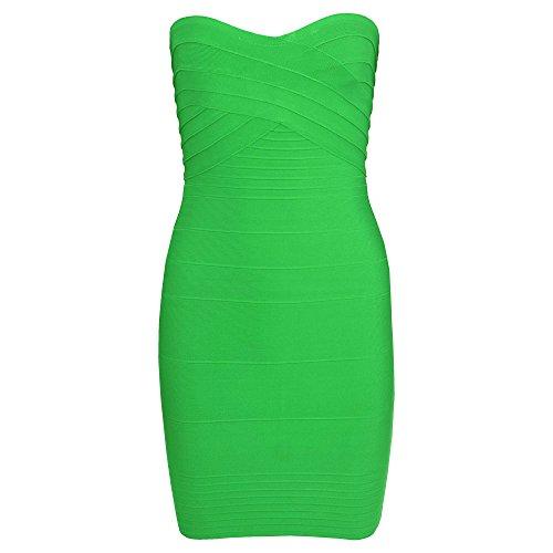 HLBandage Women's Rayon Strapless Stretch Party Bandage Dress Vert