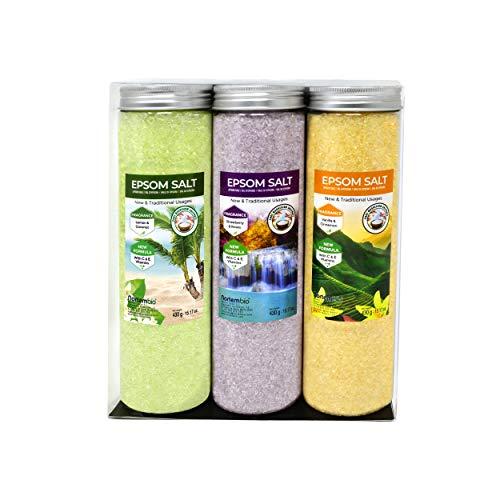 Nortembio Sales de Epsom Pack 3 x 430 g. Fragancias de Vainilla, Rosas, Limón. Hidratadas con Vitamina C y E. Sales de Baño, Aromaterapia, Terapias de Flotación.