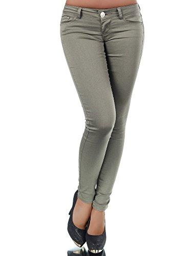 H937 Damen Jeans Hose Hüfthose Damenjeans Hüftjeans Röhrenjeans Röhrenhose Röhre, Farben:Steingrau;Größen:40 (L)