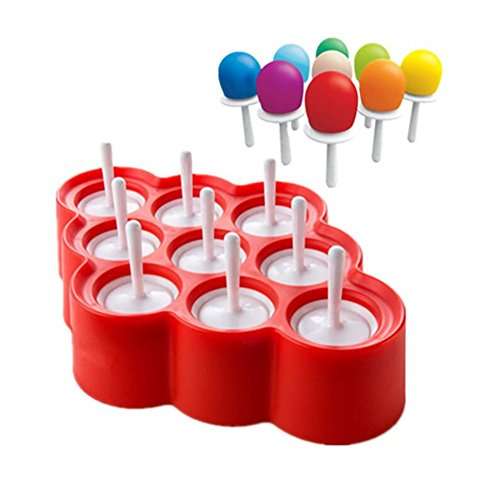 VAK 9 Löcher Silikon Mini Ice Pops Form Eis-Ball Style Ice Lolly Cubes Formenbau Maker Pfanne Popsicle Formen mit Sticks Küche Werkzeug Supplies Mini-eis Ball Mold