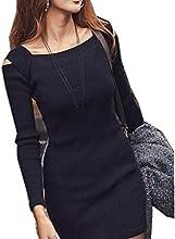 Vestido de invierno de otoño, RETUROM Mujeres cuello de manga larga de punto de punto de punto corto vestido