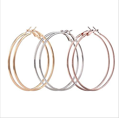 Geometrische Drei-licht-anhänger (Frauen Europa und die Vereinigten Staaten Mode geometrischen Kreis großen Kreis Ohrringe Gold und Silber Anhänger anti-allergischen Reifen Ohrringe drei Sätze)