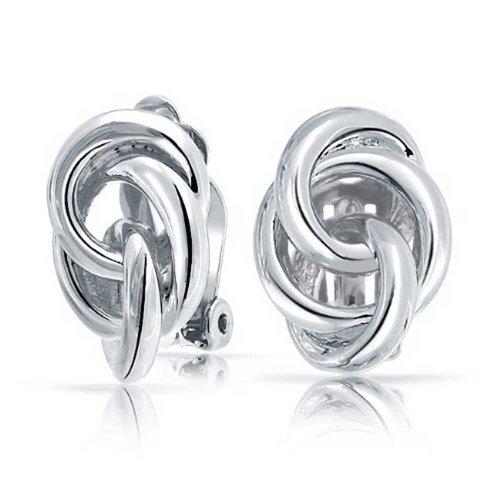 Bling Jewelry Triple Cerchio Aperto tono argento Nodo d'Amore Clip On Orecchini