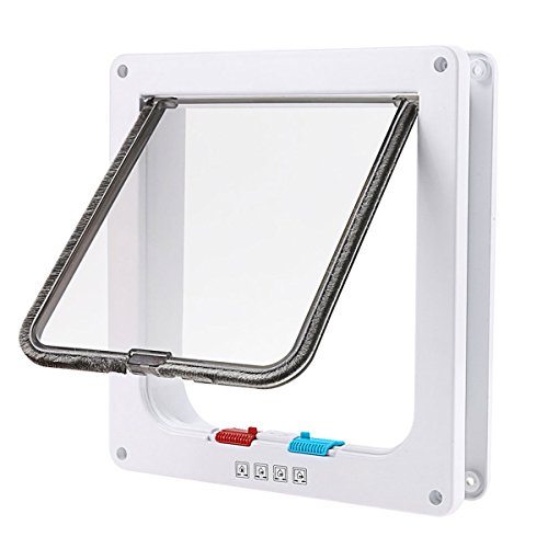 Fypo Magnetic Cat Flap for Door/Wall, Kitten Home Mate Kit 4 Way Control Easy Locking & Installation (25*23.5CM,White)