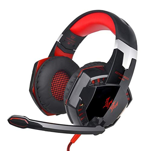 EDTara 3.5mm Gaming Headset Mic LED Headphones Stereo Surround for PS3 PS4 Xbox ONE 360 Black red