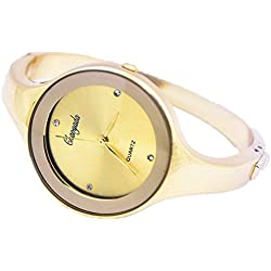 Unitedeal Crystal Gold Quartz Women Bangle Bracelet Wrist Watch / A Stunning Open Bangle Style Wrist Watch For Ladies