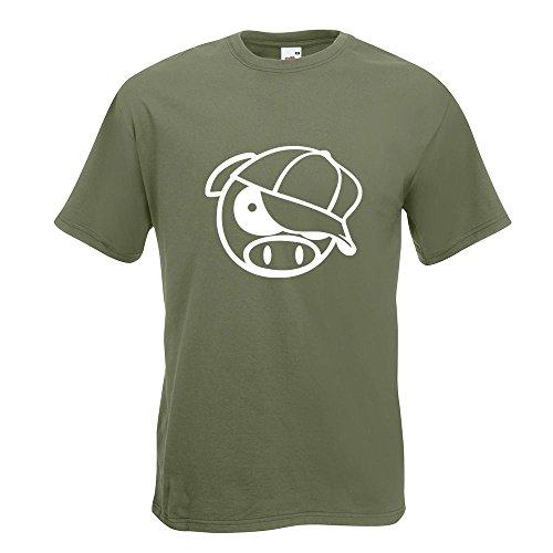 KIWISTAR - schwein mit bascap T-Shirt in 15 verschiedenen Farben - Herren Funshirt bedruckt Design Sprüche Spruch Motive Oberteil Baumwolle Print Größe S M L XL XXL Olive