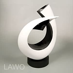 Lawo 109373 laque design sculpture linus noir blanc for Objet a poser design