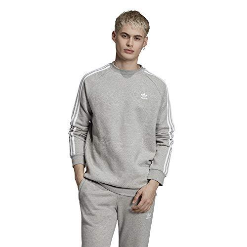 adidas Originals Crewneck Herren 3-Stripes Crew ED6016 Grau, Größe:L Originals 3 Stripes Trefoil