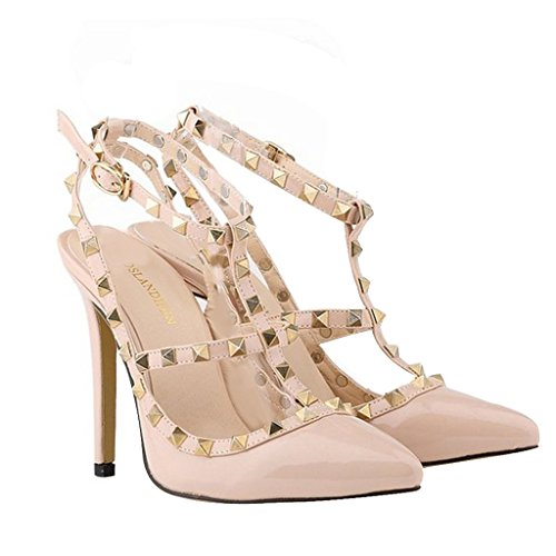 Women's Studded Patent Leather Contrast Stilettos&High Heel Pointed Toe Buckle Sandals T-Spangen Pumps mit Nieten Aprikose