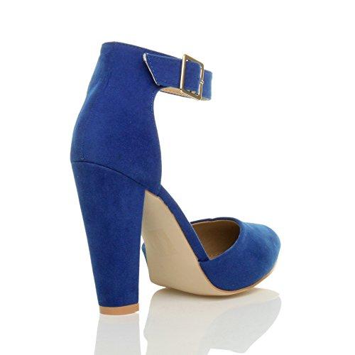 Femmes haute large talon boucle lanière pointu escarpins chaussures pointure Daim bleu