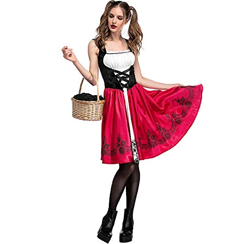 Red Queen Kostüm Einfach - COSOER Rotkäppchen Cosplay Kostüm Party Nightclub Queen Kleid Für Halloween Damenbekleidung,Red-M