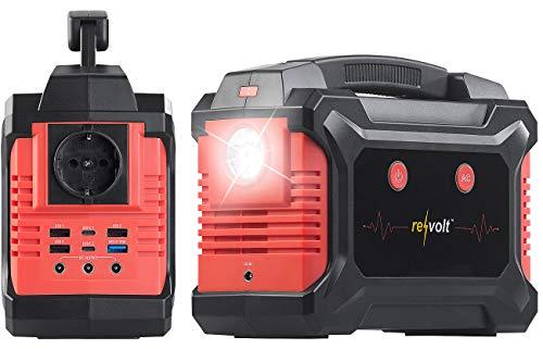 reVolt Powerbank mit Steckdose: Solar-Konverter & Powerbank, 60 Ah, 222 Wh, 230 V, QC, USB, 12V, 200 W (Solar Generator Powerbank)
