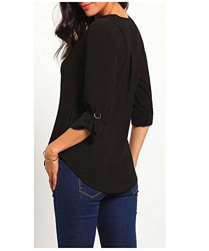 Frauen Chiffon-Bluse Blusenshirt Grundiert 2017 Die Neue Dreiviertelarm Manschettenknöpfe V-Ausschnitt Vintage Dünn Loose Normallacks Atmungsaktiv Schwarz
