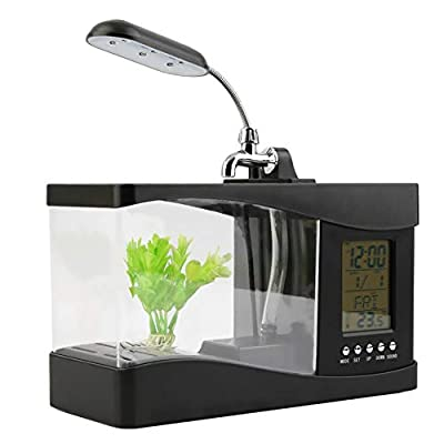 HoganeyVan Neue USB Desktop Mini Aquarium Aquarium LCD Timer Uhr LED Lampe Licht schwarz Worldwide Store