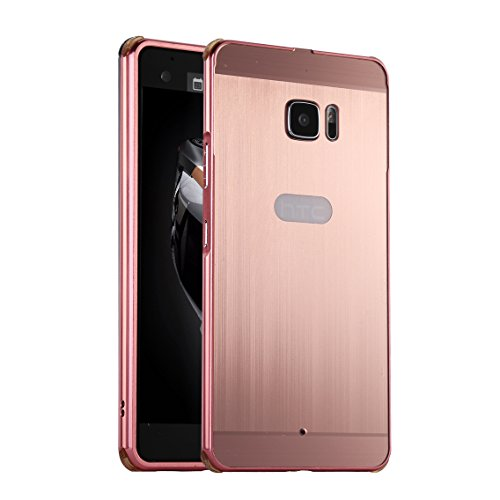 HICASER Luxus Chrom Bumper Hülle für HTC U Ultra Case Ultra Slim Brushed Metall Aluminium + Kunststoff Handytasche Schutzhülle protective Cover Rose Gold