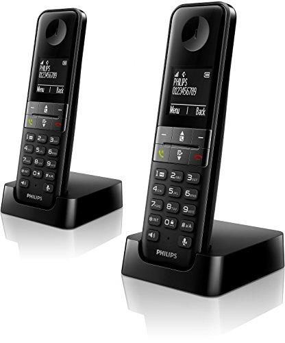 Philips D4502B - Teléfono inalámbrico Dect Duo (manos libres, pantalla 4.6 cm), negro