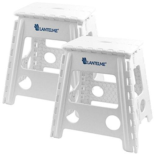 Lantelme 4787 2 Stück Set Klapphocker - Hocker aus Kunststoff Farbe weiß für Haushalt , auch für Arztpraxis geeignet