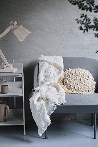 Französischs Leinen Flachs Decke mit selbst zerrissenen Kanten, gefertigt aus dickem dual gewebtem Leinen weiche Stoffe, verwendet als Bettdecke Wolldecke, Größe 59