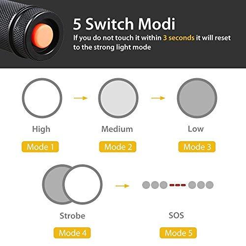 Linterna LED, Linterna Táctica, Alta Potencia Recargable 2000 Lumens Flashlight de 5 Modos para Ciclismo Camping Montañismo incluida un 2 de 18650 USB Carga Recargable (incluido)