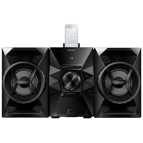 Sony 120 Watt Stereo Mini Hi-Fi Shelf System with 8-pin Lightning Dock Connector For Ipod Iphone 2-Way Bass Reflex Speakers Single Disc CD Player FM Radio With 20-Station Presets CD CD-R RW MP3 Playback Clock With Sleep And Wake Timers Black Finish