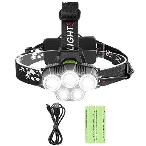 Stirnlampe led wiederaufladbar, Laluztop LED USB Kopflampe wasserdicht 6 Modi Perfekt für Wandern Camping Mountainbiking Fischerei