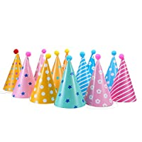 soamazing Party Hats, Lovely Paper Cone Birthday Party Hats for Children ,Fun Birthday Jamboree Party Hats, Pack of 12