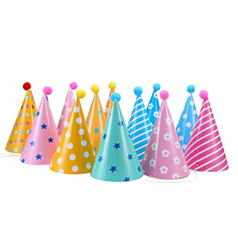 Soamazing Party Hats, Lovely Paper Cone Birthday Party Hats for Children and Adults, Fun Birthday Jamboree Party Hats, Pack of 12
