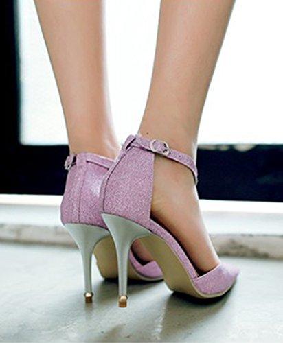 Aisun Damen Elegant T-Spange Metallic Glitzer Spitz Geschlossene Zehe Stilletto Pumps Pink
