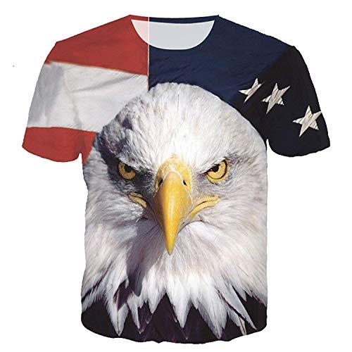 RXBC2011 Herren T-Shirt American Flag Adler und Katze Bedruckt XS-5XL. - Weiß - 5X-Large (US - XXX-Large)