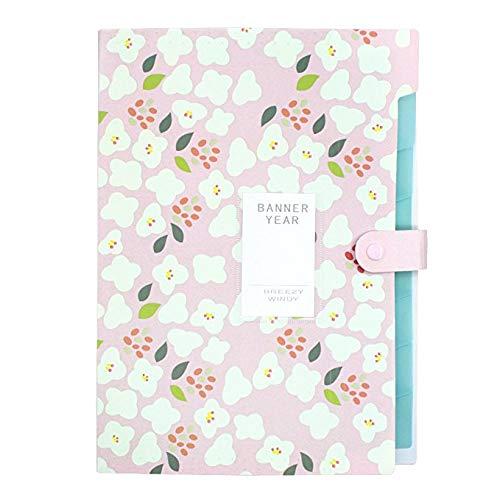 KBWL A4 Candy Floral wasserdicht 8 Taschen erweitern Organizers Wallet Schließen Documents Portfolios Folder 8 Taschen für Zuhause oder Büro Pink (Candy Wallet)