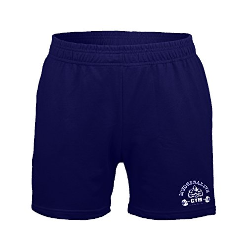 Musclealive Herren Bodybuilding Fitnessstudio Trainieren Kurze Hose Frottee-Baumwolle (Herren-elastische Taille Shorts)