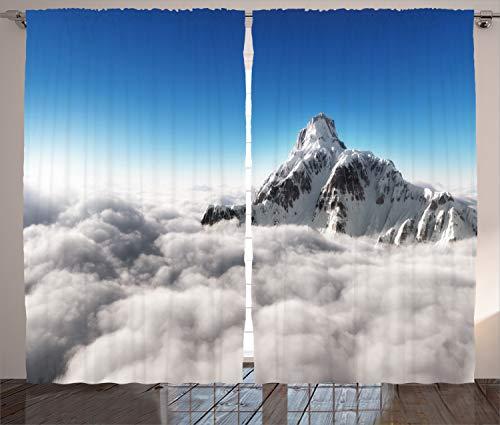 ABAKUHAUS Weiß Blau Rustikaler Gardine, Berg Sunny Sky, Schlafzimmer Kräuselband Vorhang mit Schlaufen und Haken, 280 x 225 cm, Weiß Blau